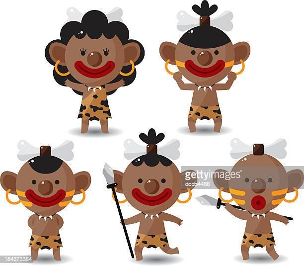ilustrações de stock, clip art, desenhos animados e ícones de conjunto de indígenas - canibalismo