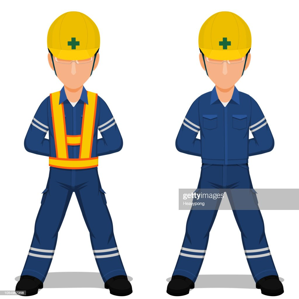 Set of industrial worker in the position of parade rest on transparent background