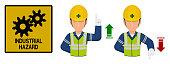 Set of industrial worker is gesturing hand sign ( increase,decrease)