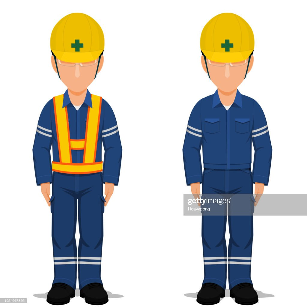 Set of industrial worker stand up on transparent background