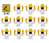 Set of industrial worker with Chemical Hazard protective suit is gesturing hand sign (0-10)