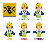 Set of industrial worker with hearing protection equipment mask is presenting satisfaction level