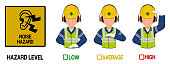 Set of industrial worker with hearing protective equipment is gesturing hand sign ( high low average)
