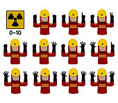 Set of industrial worker with Radiation Hazard protective suit is gesturing hand sign (0-10)