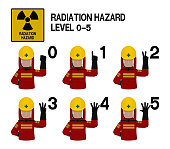 Set of industrial worker with Radiation protective suit is gesturing hand sign (0-5)