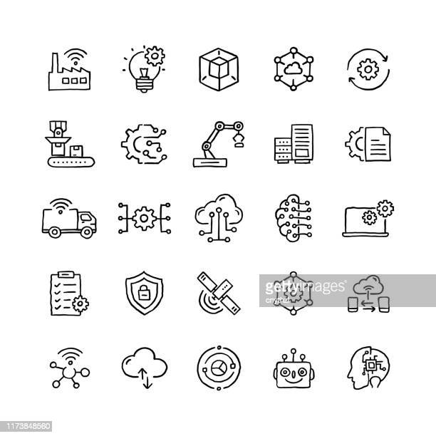 satz von industrie 4.0 verwandten objekten und elementen. hand gezeichnet vektor doodle illustration sammlung. hand gezeichnetes symbol-set. - herstellendes gewerbe stock-grafiken, -clipart, -cartoons und -symbole