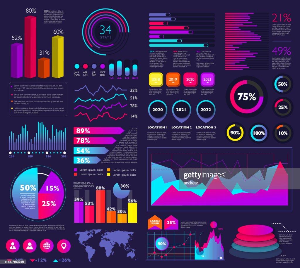 Set von Infografikelementen: Balkendiagramme, Statistiken, Kreisdiagramme, Symbole, Präsentationsgrafiken : Stock-Illustration