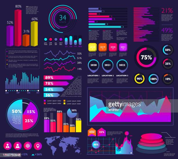 illustrazioni stock, clip art, cartoni animati e icone di tendenza di set of infographic elements: bar graphs, statistics, pie charts, icons, presentation graphics - dati