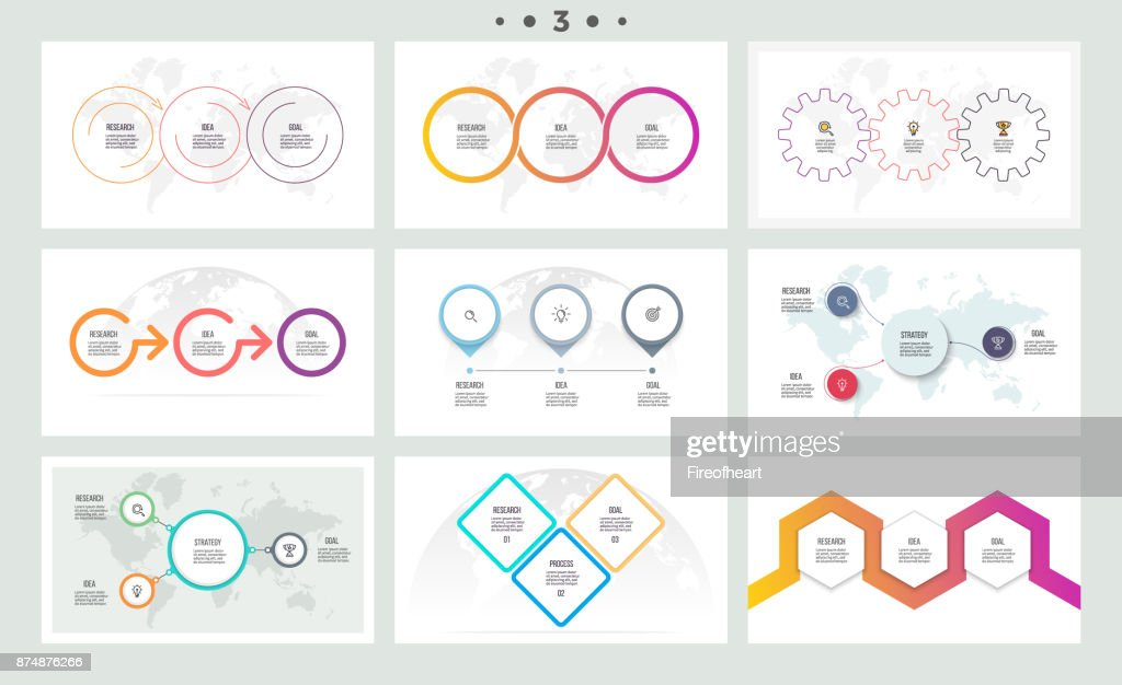 Set of infographic elements. Presentations, graphs, charts, diagrams with 3 steps, options. Vector templates.