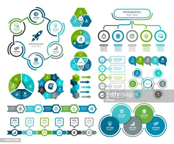 set of infographic elements - steps stock illustrations