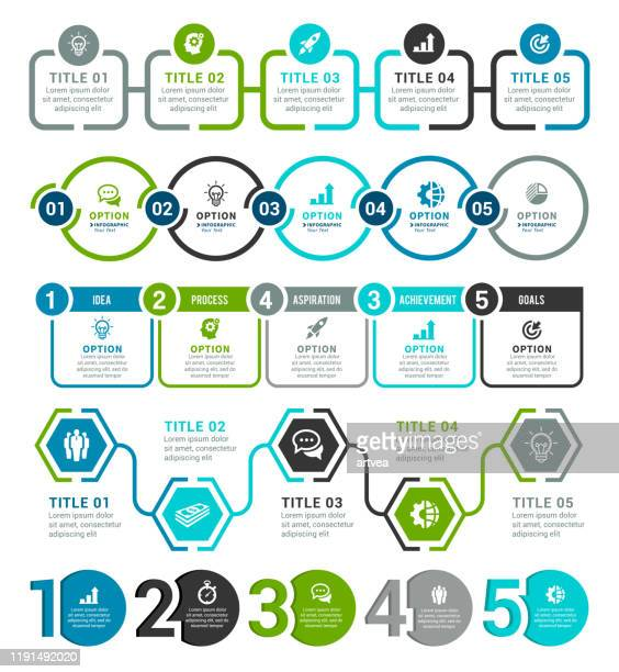 set of infographic elements - number 5 stock illustrations