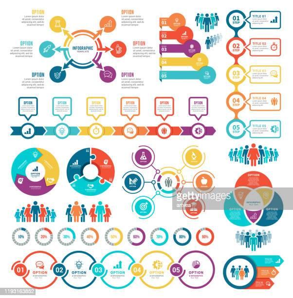 illustrazioni stock, clip art, cartoni animati e icone di tendenza di insieme di elementi infografici - composizione verticale