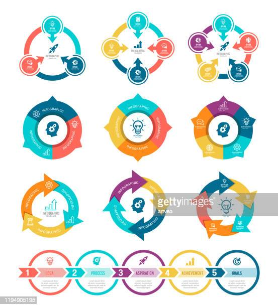 set of infographic elements - computer graphic stock illustrations