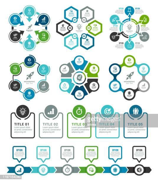 satz von infografikelementen - zahl 5 stock-grafiken, -clipart, -cartoons und -symbole