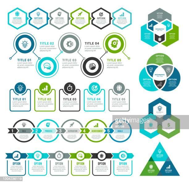 illustrazioni stock, clip art, cartoni animati e icone di tendenza di set of infographic elements - triangolo forma bidimensionale