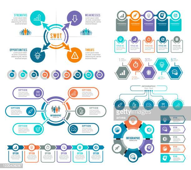 set of infographic elements - number 4 stock illustrations