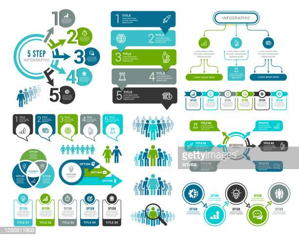 satz von infografikelementen - flussdiagramm stock-grafiken, -clipart, -cartoons und -symbole