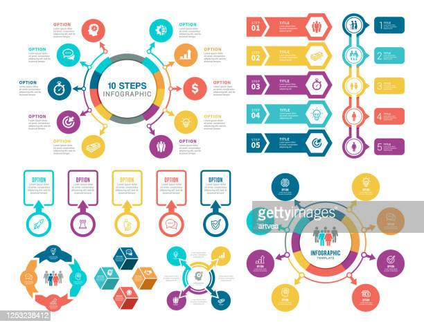 set of infographic elements - number 8 stock illustrations