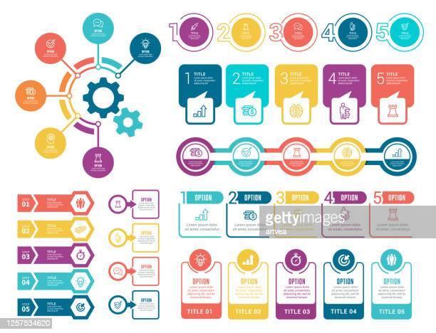 illustrazioni stock, clip art, cartoni animati e icone di tendenza di set of infographic elements - numero 4