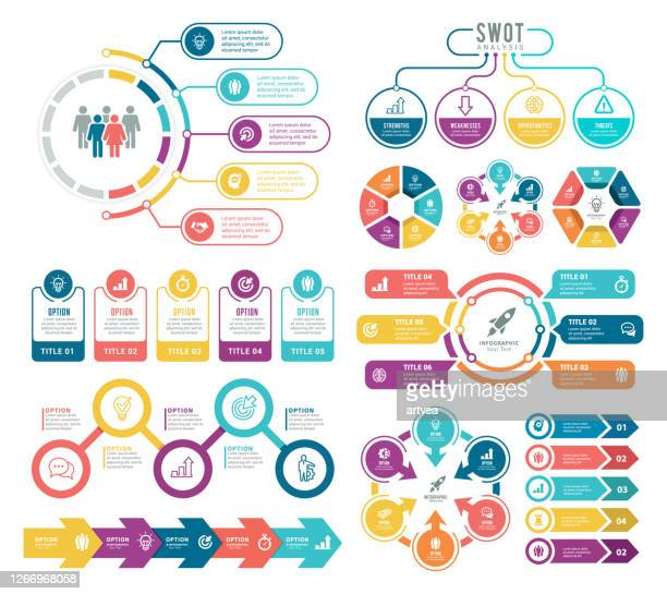 set of infographic elements - infographic stock illustrations