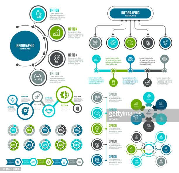 illustrazioni stock, clip art, cartoni animati e icone di tendenza di insieme di elementi infografici - numero 4