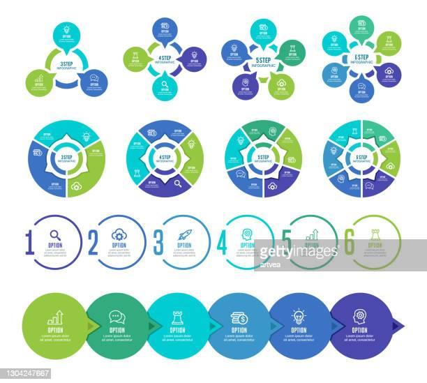 インフォグラフィック要素のセット - 数字の4点のイラスト素材/クリップアート素材/マンガ素材/アイコン素材
