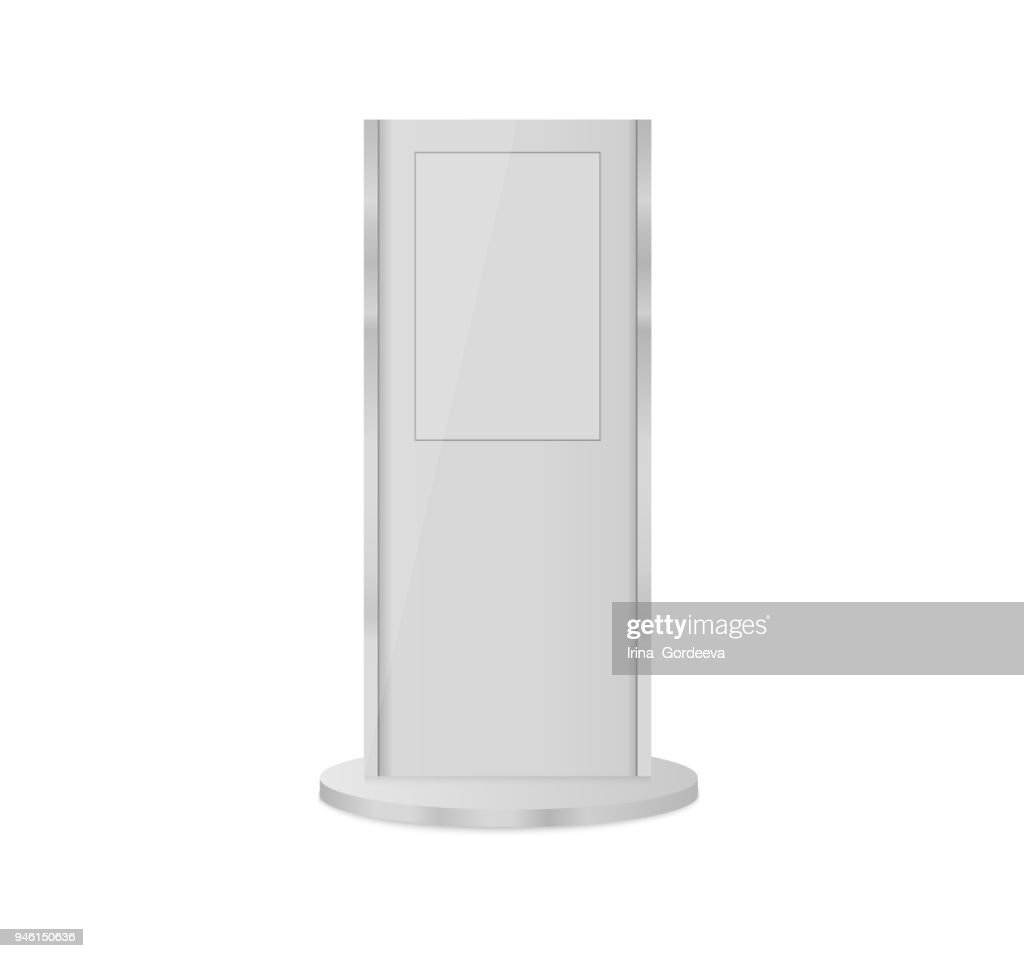 Set of information kiosks with blank screens isolated on white background. Payment terminal mockup. Vector illustration