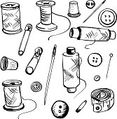 set of ink drawing needlework equipment