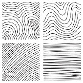 Set of ink hand drawn textures. Lines with different density and incline. Hatching drawn with pen. Abstract background collection. Vector design elements.