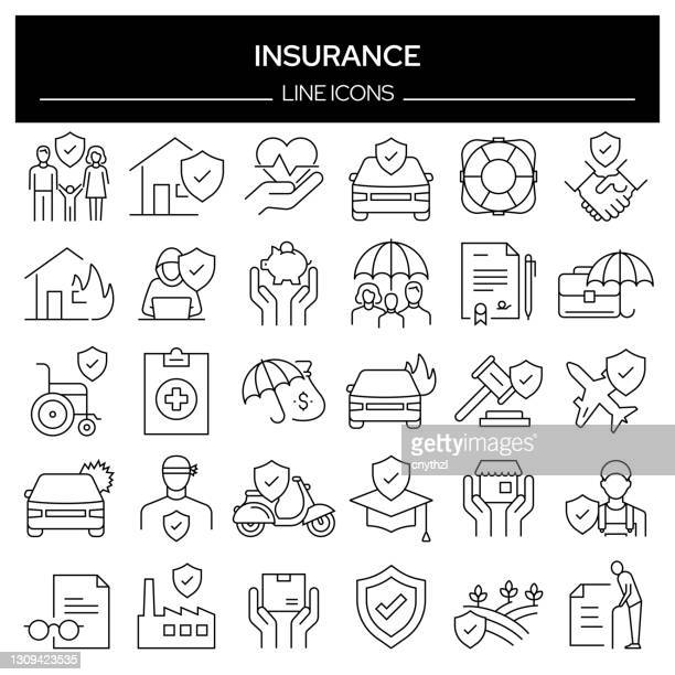 set of insurance related line icons. outline symbol collection, editable stroke - mortgage stock illustrations