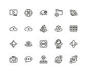 Set of Interactive System Line Icons