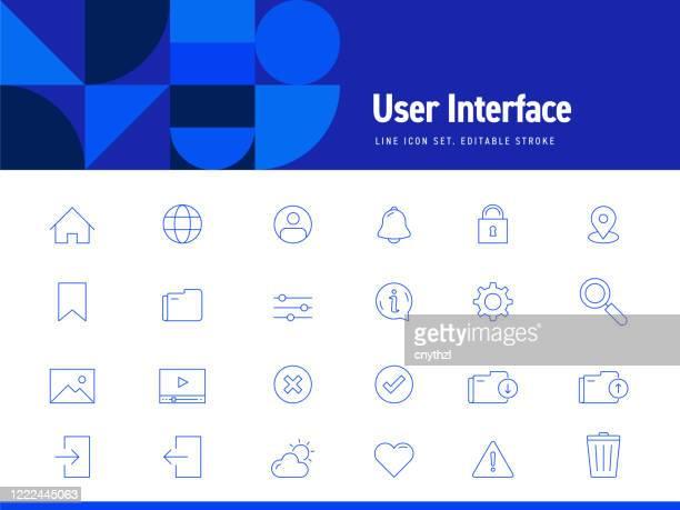 ilustraciones, imágenes clip art, dibujos animados e iconos de stock de conjunto de iconos de línea relacionados con la interfaz. trazo editable. iconos de contorno simples. - panel de indicadores medios visuales
