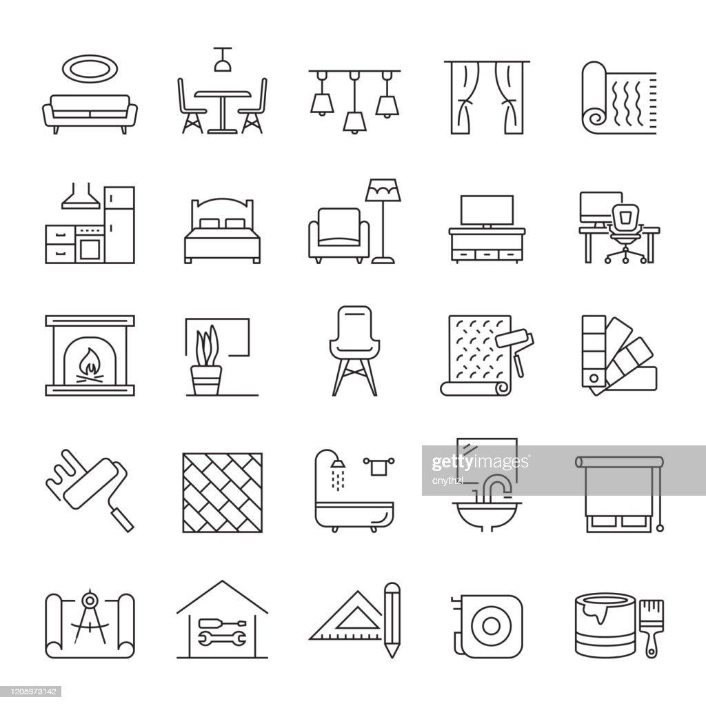 Conjunto de iconos de línea relacionadacon el diseño de interiores y la decoración del hogar. Trazo editable. Iconos de contorno simples. : Ilustración de stock