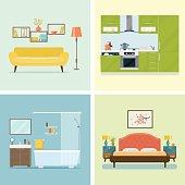 Set of interior design room Vector flat illustration