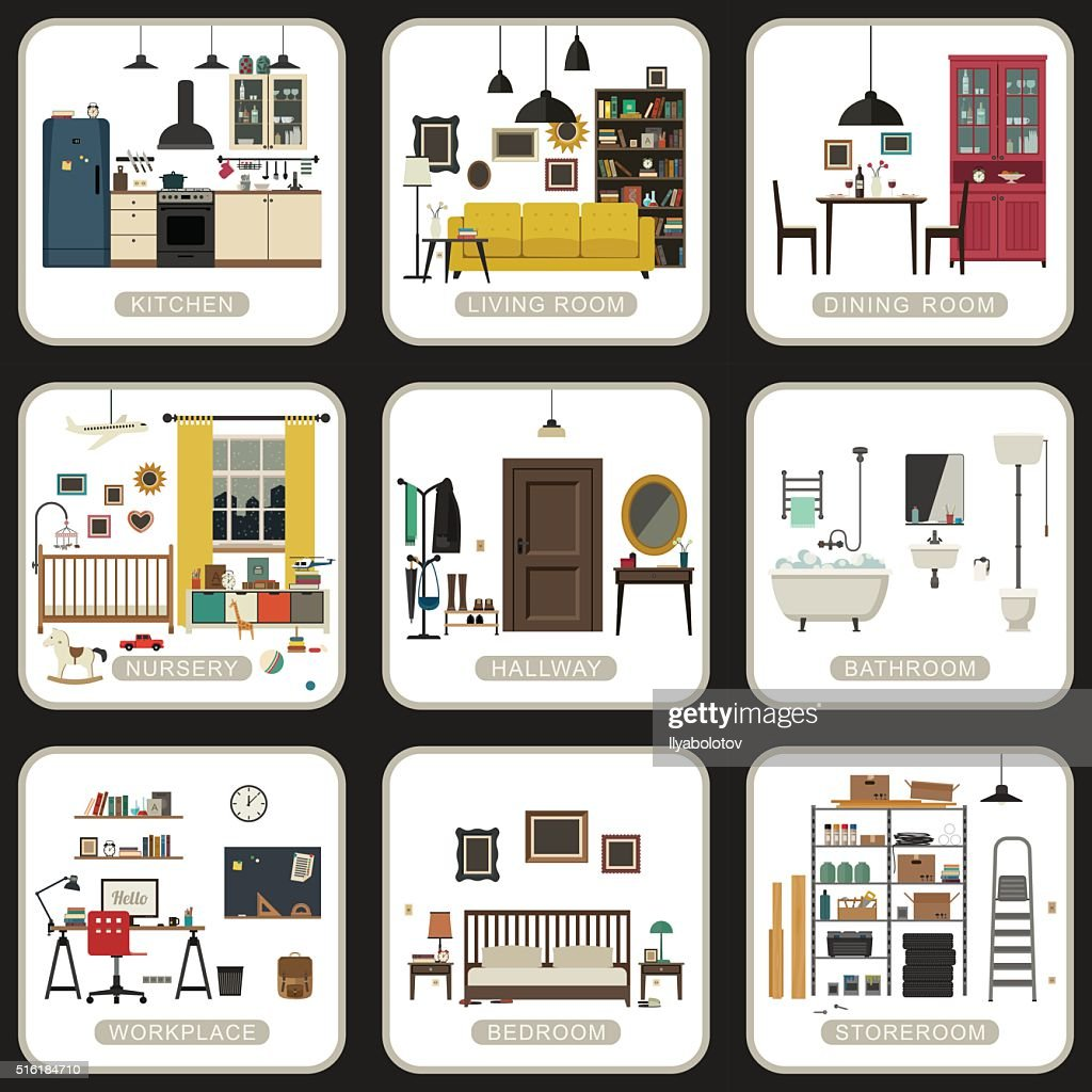 Set of interior rooms.