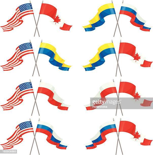 satz von internationalen freundschaft flags - polnische flagge stock-grafiken, -clipart, -cartoons und -symbole