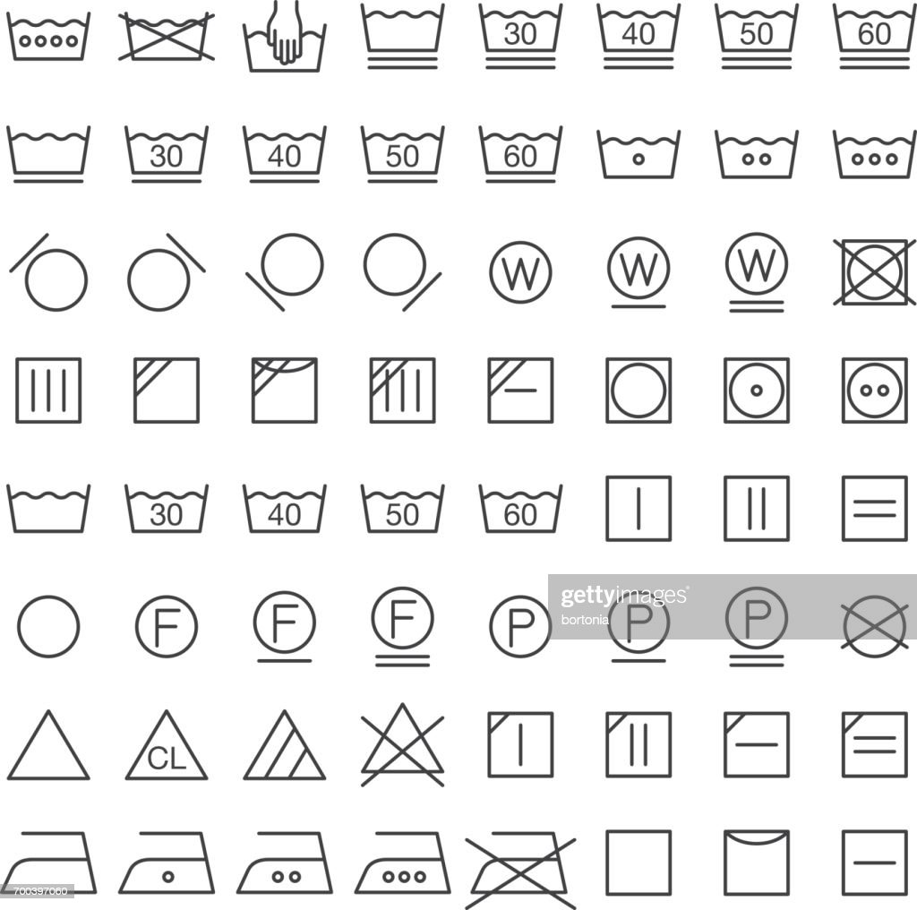 Set Of International Laundry Symbols Vector Art