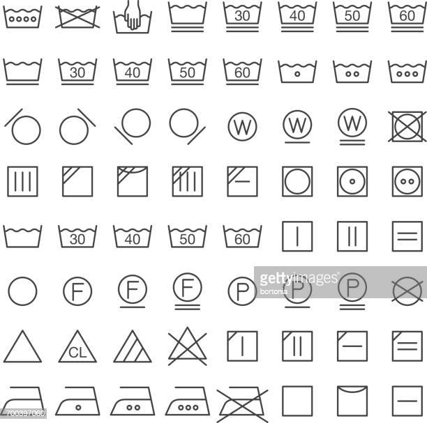 set of international laundry symbols - iron appliance stock illustrations, clip art, cartoons, & icons