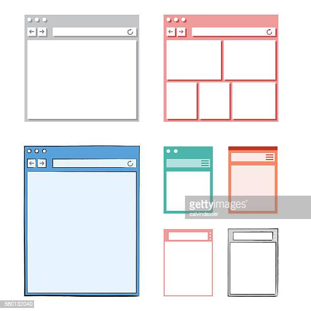 Set of Internet browser designs and mockups