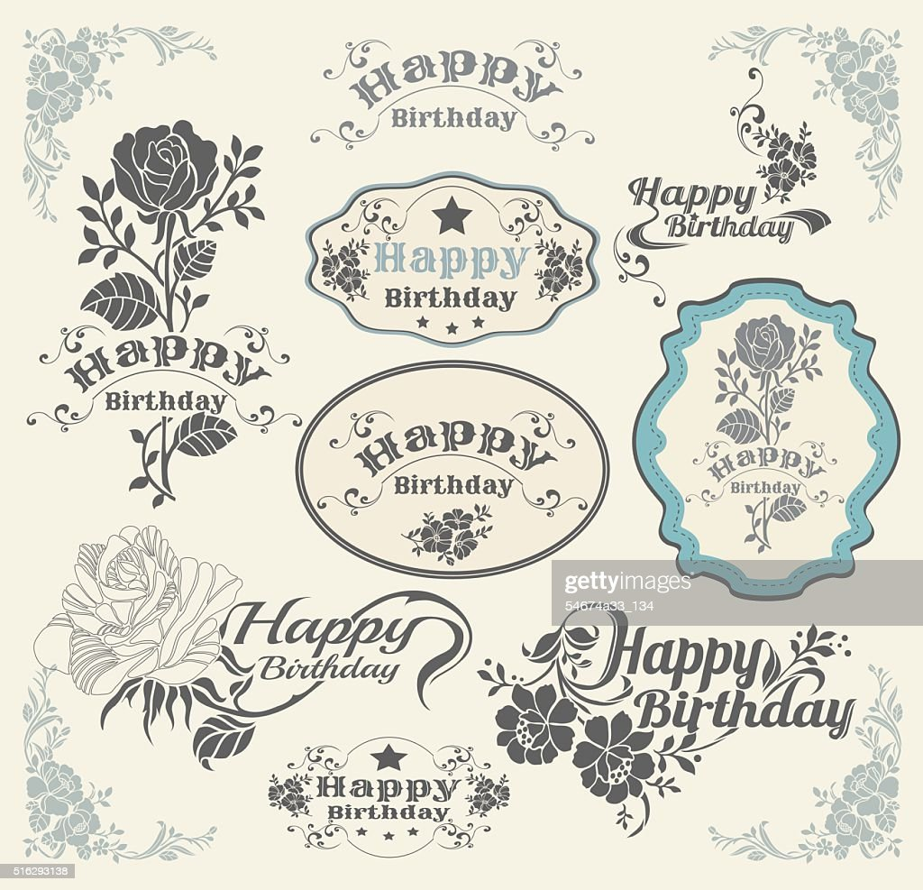 Set of invitation vintage design elements.