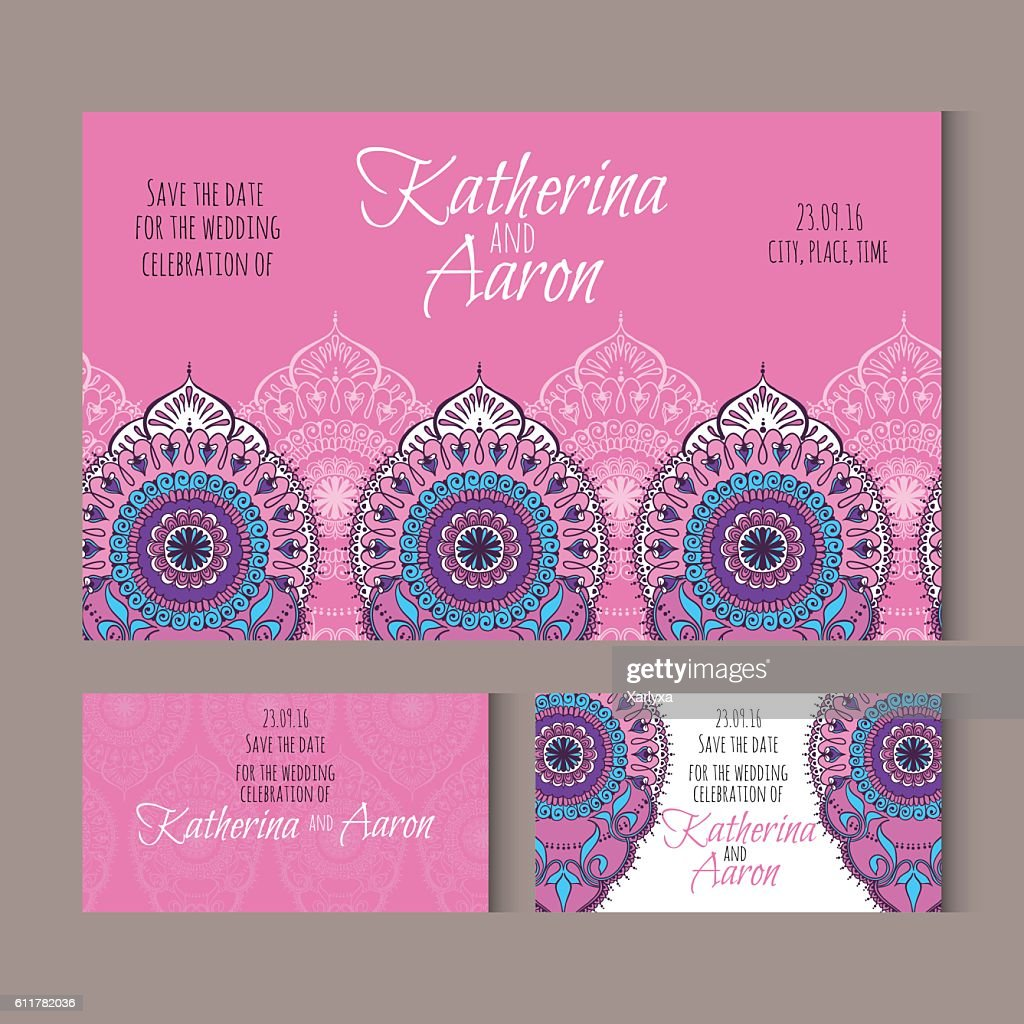 Set of invitation wedding cards with place for text