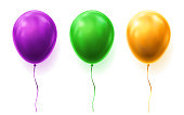 Set of isolated 3d balloons for party or birthday
