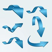 Set of Isolated 3D Blue Arrows