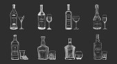 Set of isolated alcohol beverages, bottles sketch