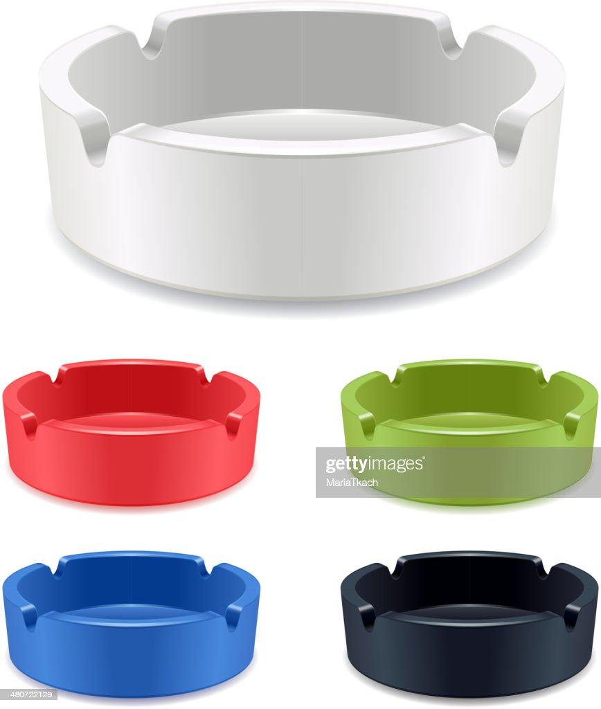 Set of isolated ashtrays on white background.