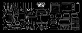 Set of isolated baking stuff in 55 pieces. Cute hand drawn kitchen tools vector illustration only white outline.