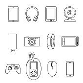 Set of Isolated black line electronic gadget, book reader, tablet, web camera, smartphone, earphone, computer mouse, graphic pad, mp3 player, bracelet on white background. Collection of outline icon.