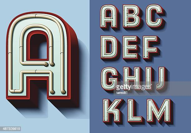 set of isolated capital letters a—m - letter d stock illustrations, clip art, cartoons, & icons