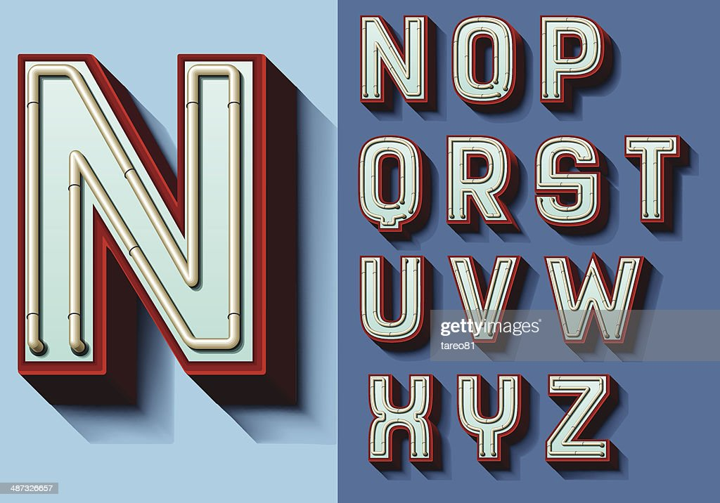 Set of isolated capital letters N-Z