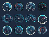 Set of isolated car or moto, truck speedometer